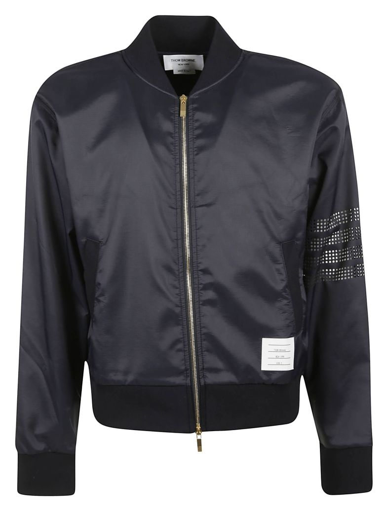 Thom Browne Perforated 4-bar Bomber - Black