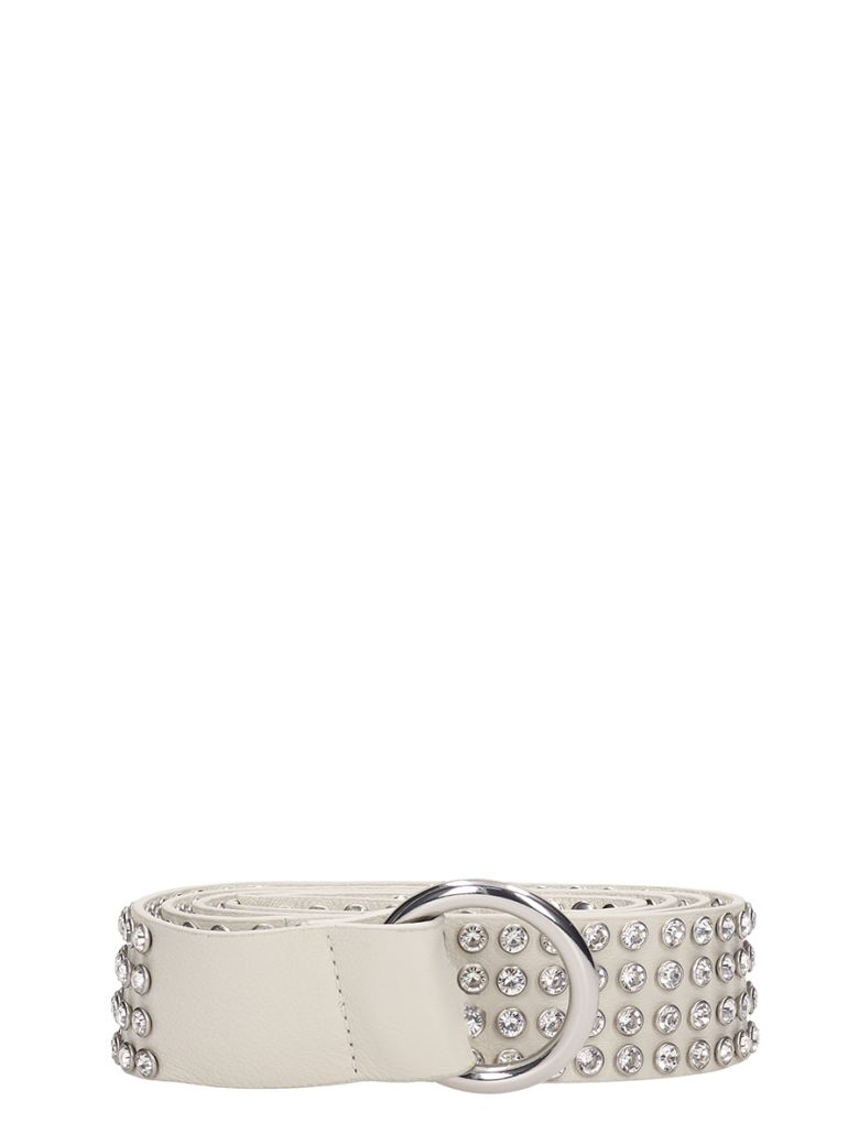 B-Low the Belt Mia Crystal White Leather Belt - white