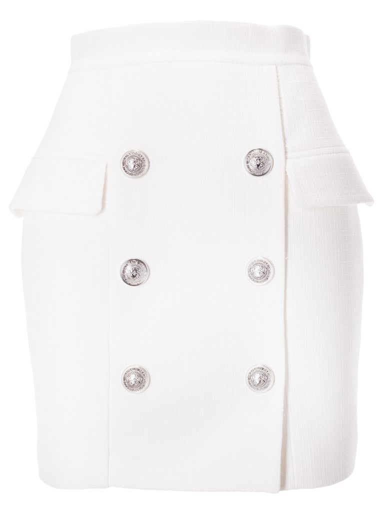 Balmain Buttoned Skirt - Blanc