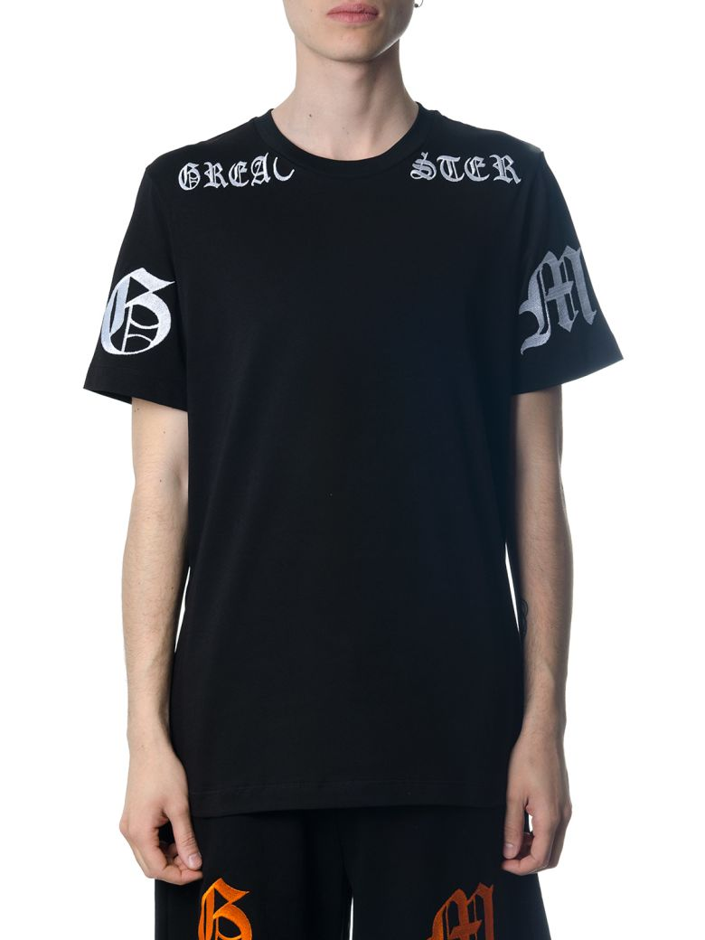 OMC Black Cotton T-shirt With Gothic Print - Black