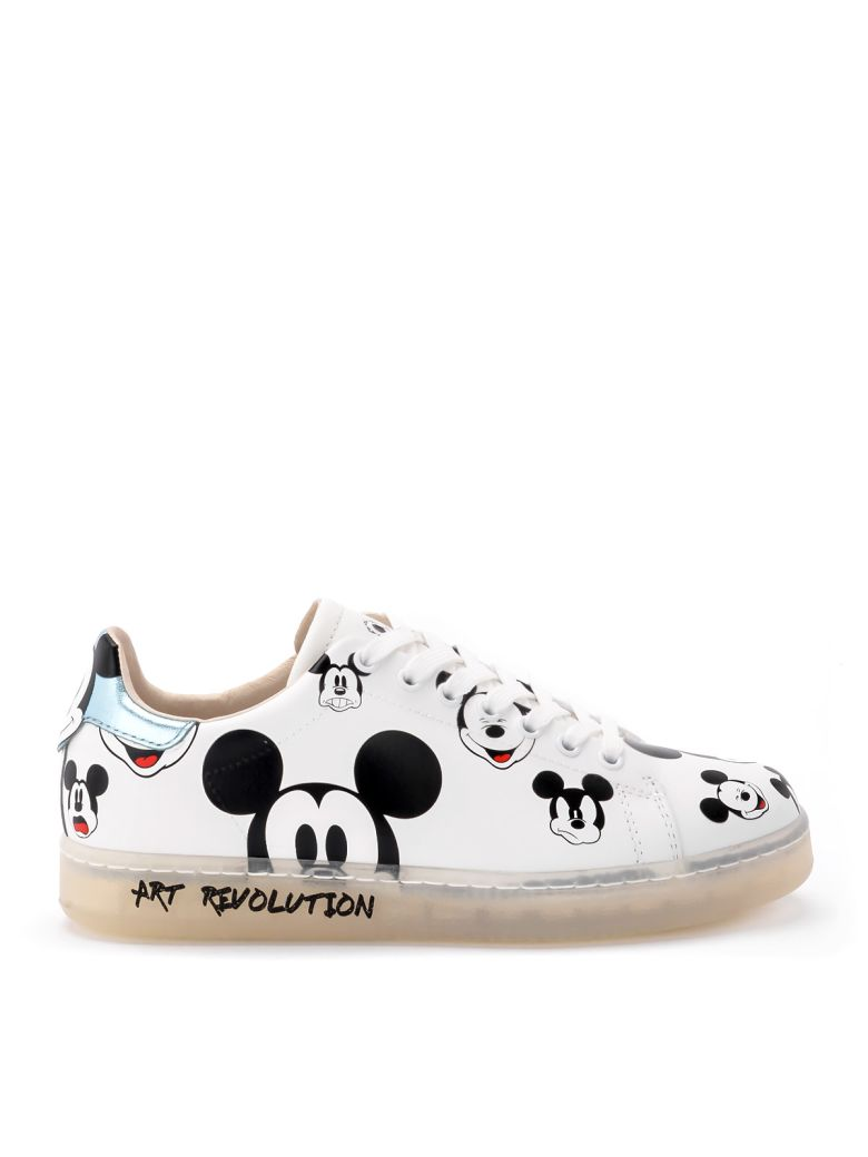 M.O.A. master of arts Moa Mickey Mouse White And Light Blue Leather Sneakers - BIANCO