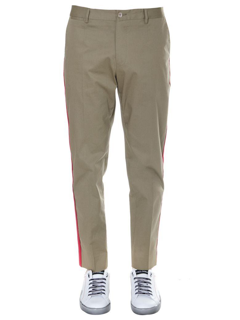 Dolce & Gabbana Cotton Lateral Bands Pants - Kaki
