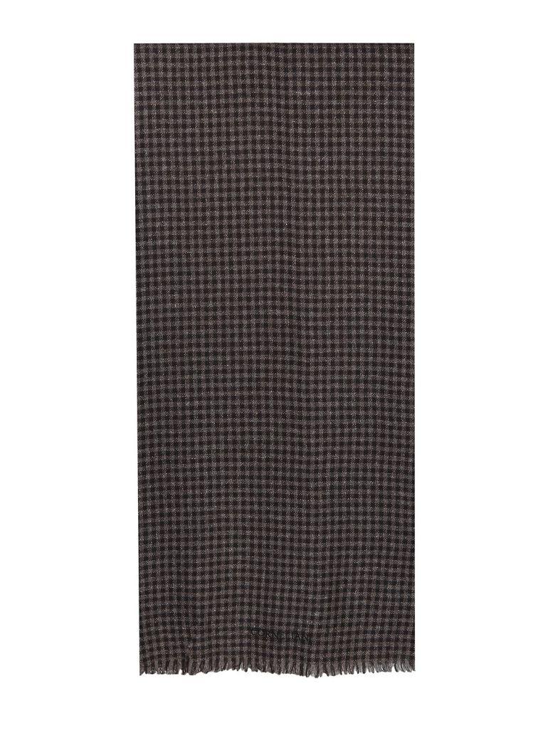 Corneliani brown and beige plaid wool blend silk Scarf - Marrone