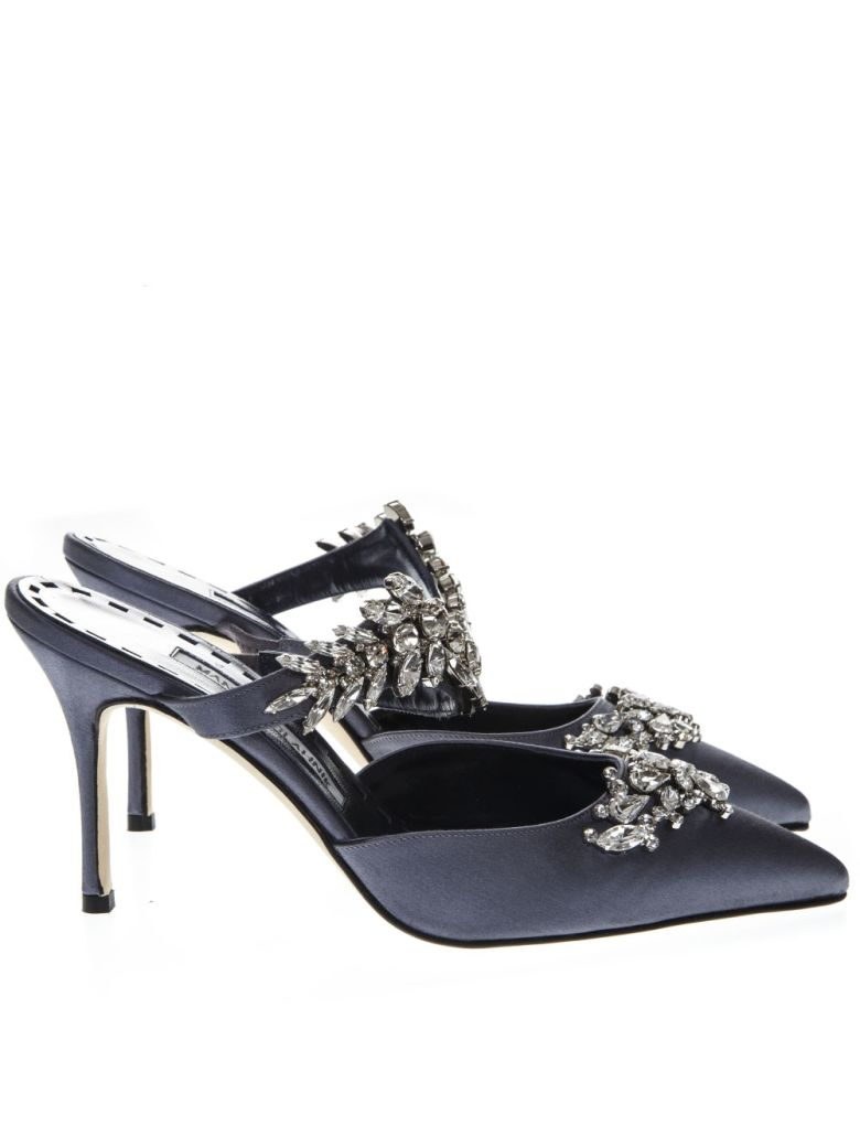 Manolo Blahnik Blue Navy Mules Lurum In Satin With Crystal Details - Blue