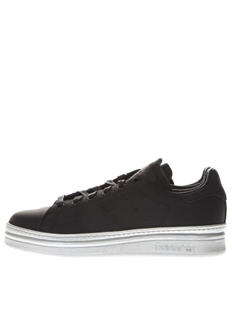 Adidas Originals Stan Smith New Bold Black Leather Sneakers - Black