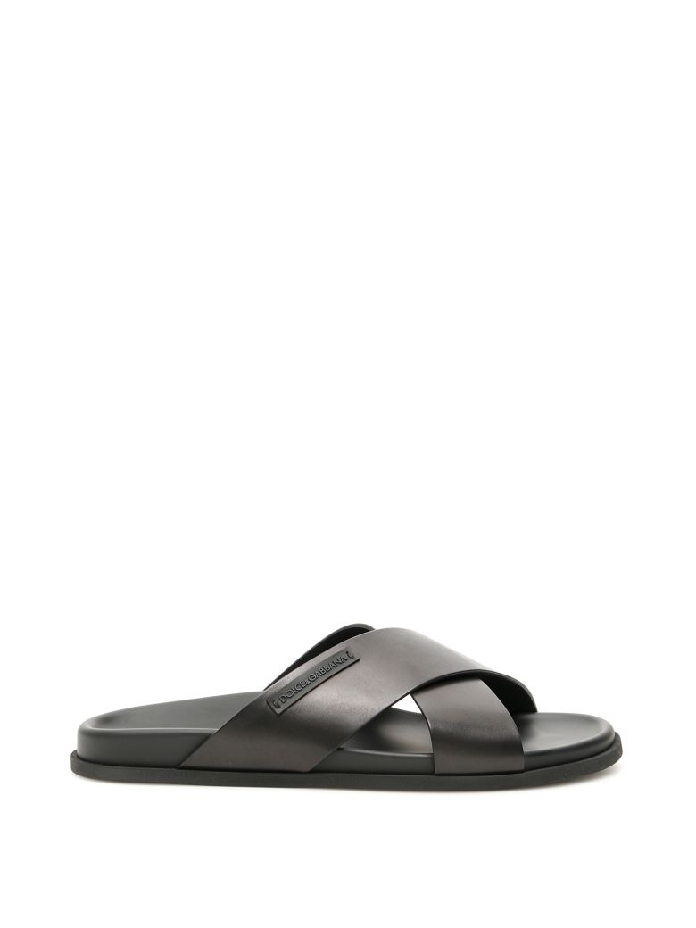 Dolce & Gabbana Leather Hawaii Slides - NERO|Nero