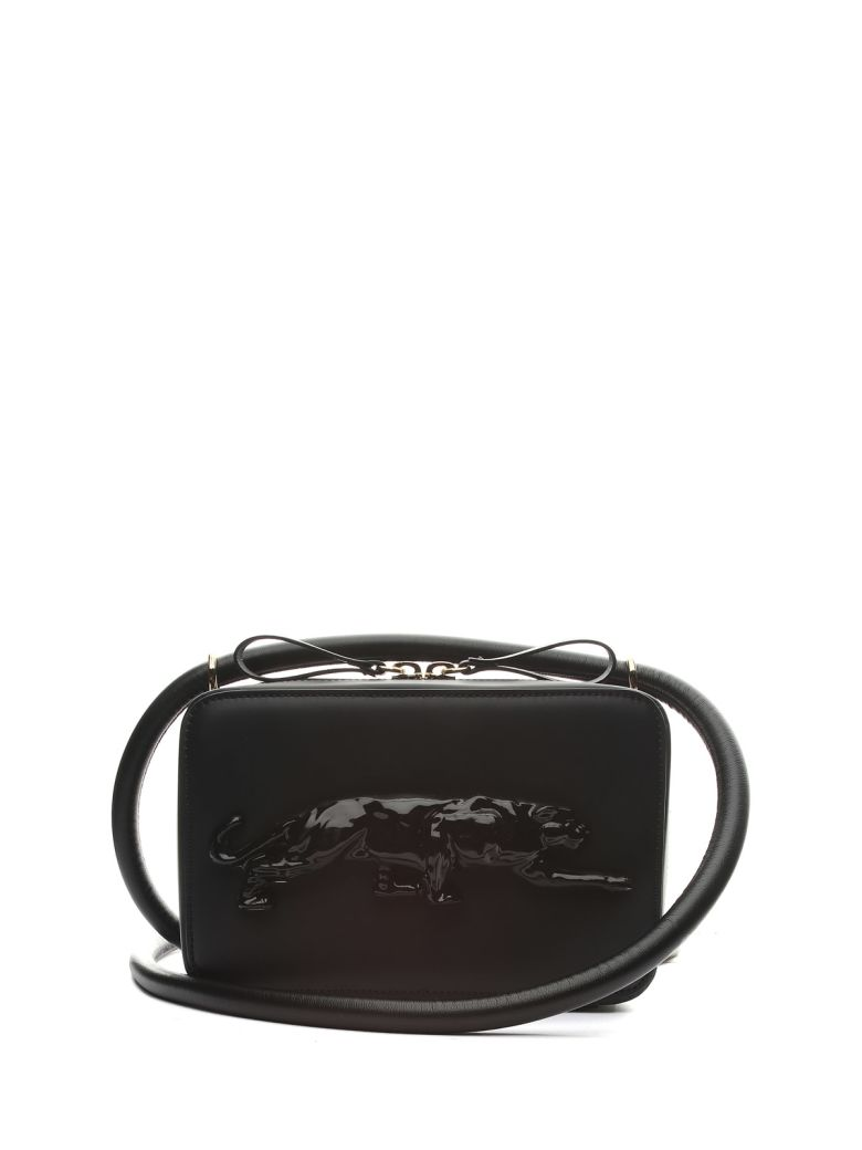 Krizia Embossed-panther Leather Crossbody Bag - Nero