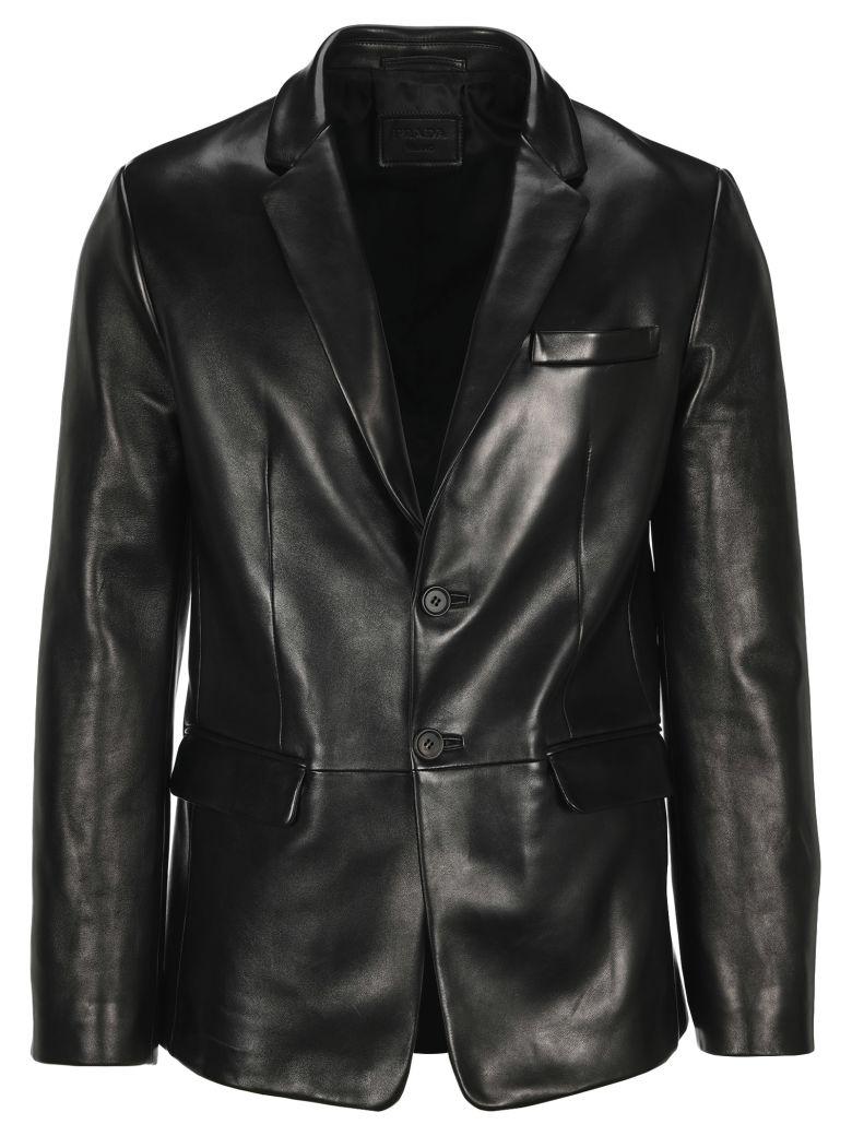 Prada Leather Blazer - BLACK