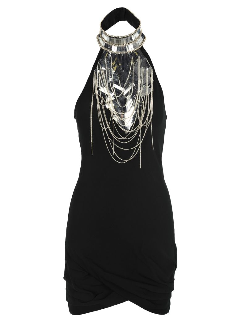 Balmain Balmain Embellished Crepe Mini Dress - BLACK
