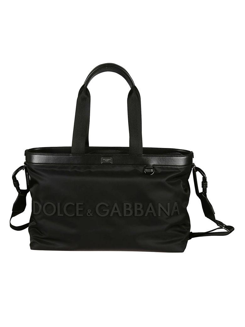 Dolce & Gabbana Logo Plaque Box Tote - black