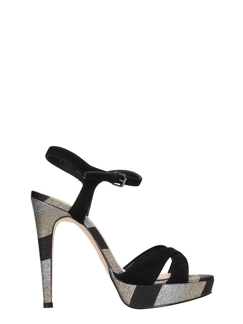 Bibi Lou Black-silver Suede Sandals - Black