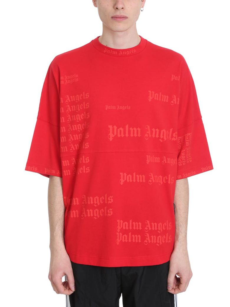 Palm Angels Ultra Logo Red Cotton T-shirt - Red