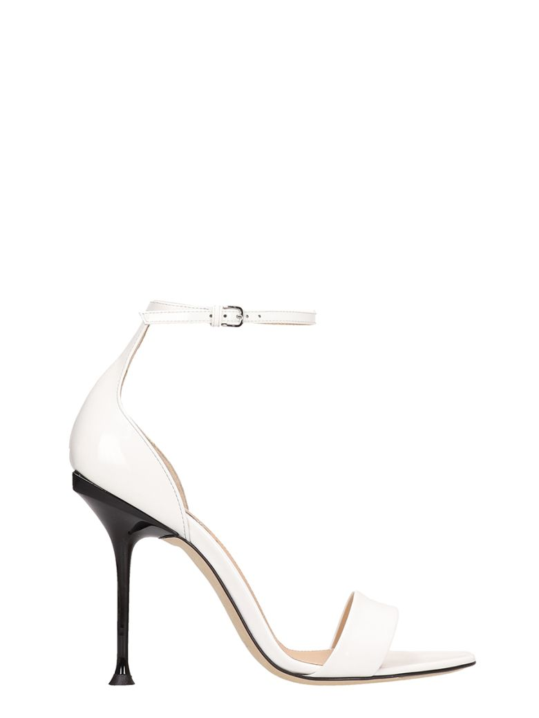 Sergio Rossi White Patent Leather Sandals - white