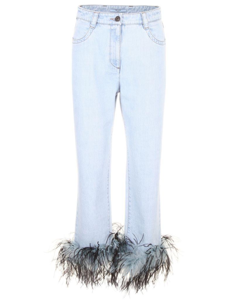 Prada Linea Rossa Jeans With Feathers - LIGHT BLUE (Light blue)