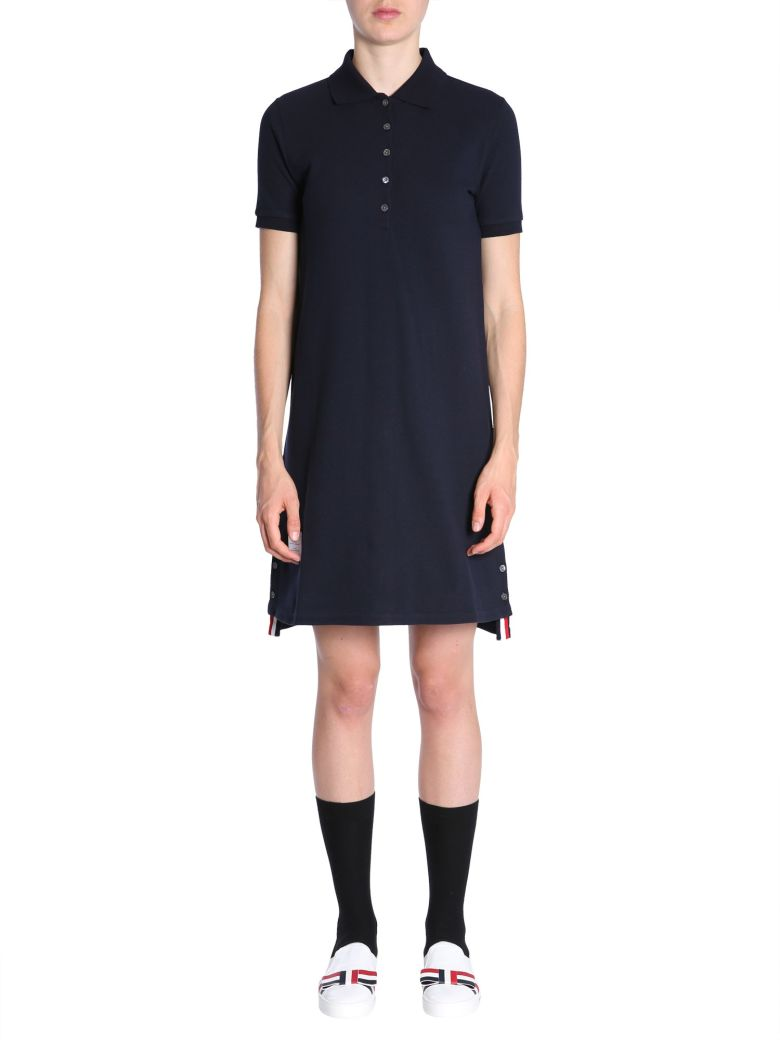 Thom Browne Cotton Pique Polo Dress - Blue