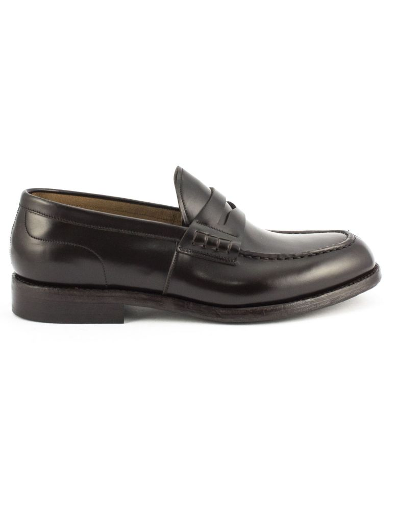 Green George Brown Polished Leather Loafer - Testa Di Moro