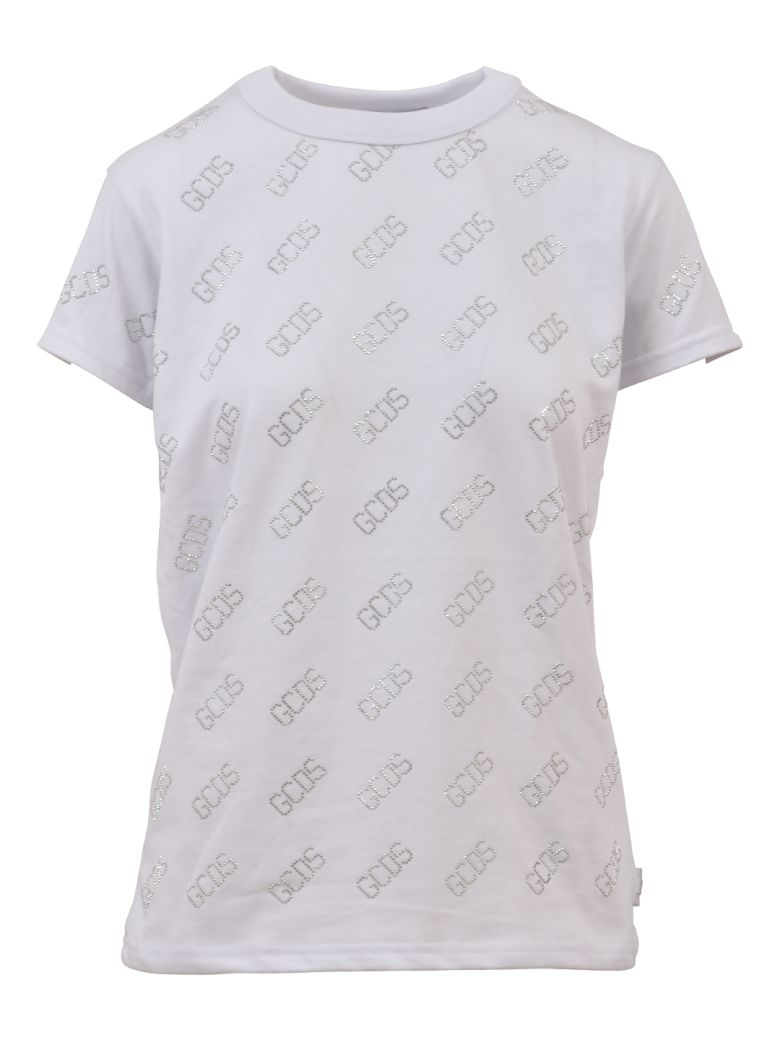 GCDS Crystal Logo T-shirt - White