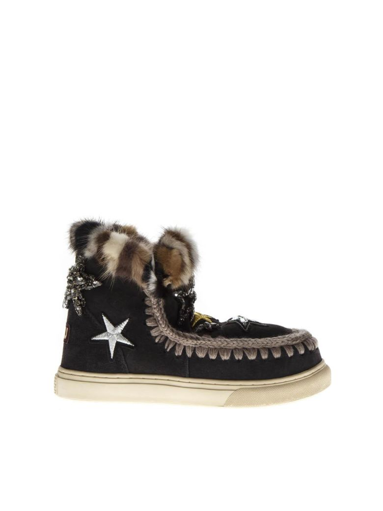 Mou Black Mink Fur And Patches Stars Sneaker Boots - Black