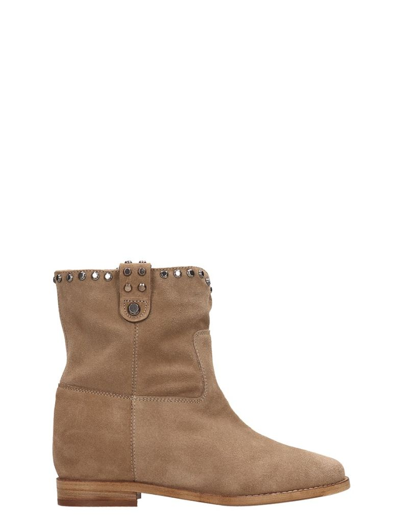 Julie Dee Beige Suede Ankle Boots - Beige