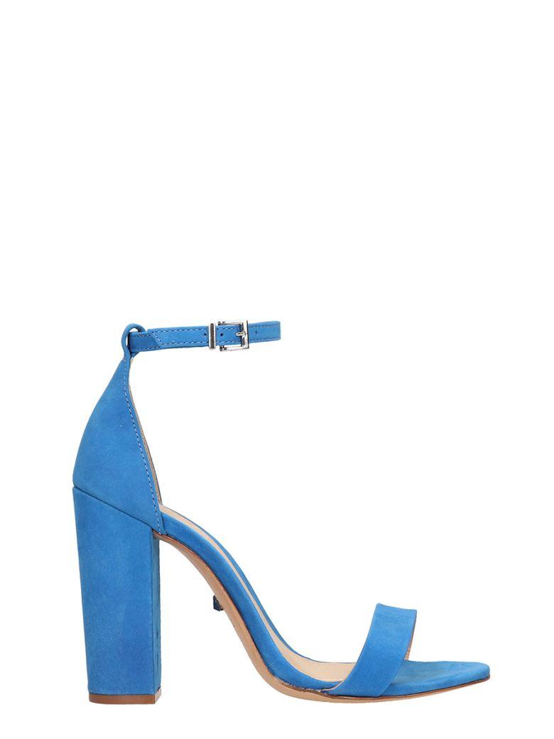 Schutz Blue Suede Leather Sandals - blue