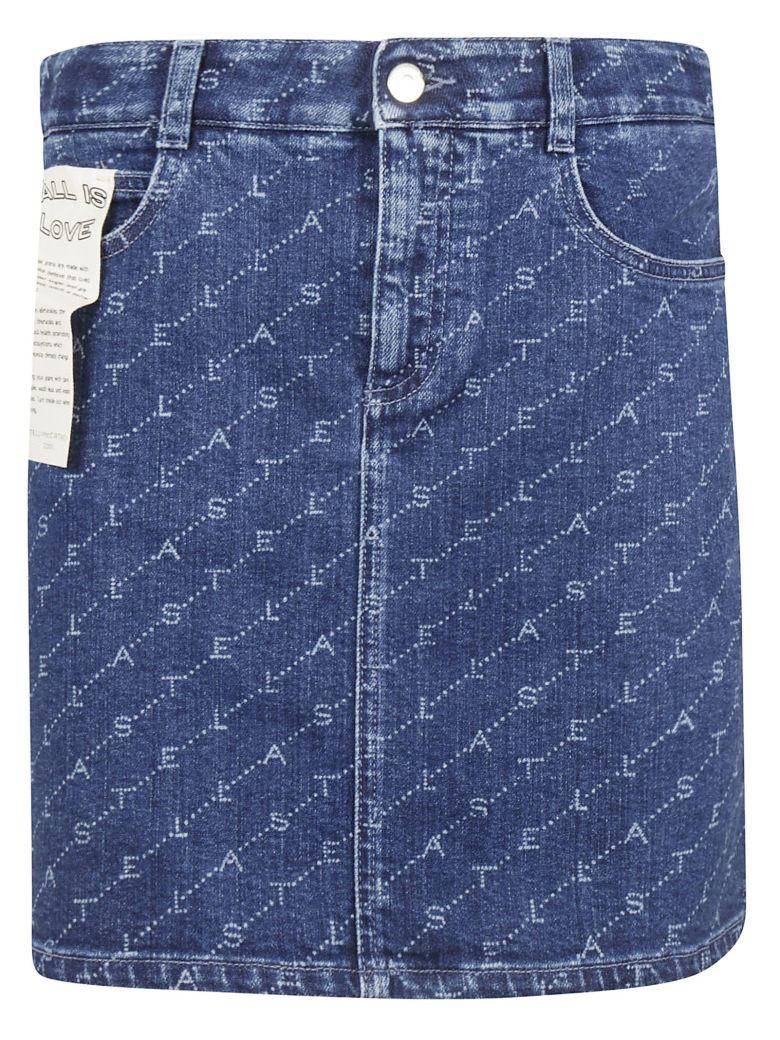 Stella McCartney Logo Print Mini Skirt - Dark Classic Blue