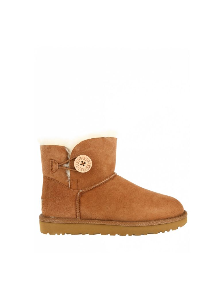 UGG Mini Bailey Button II Ankle Boots - Brown