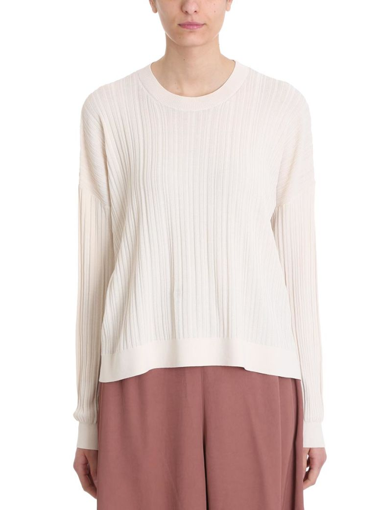Acne Studios Kami Ribbed Ivory Cotton Sweater - white