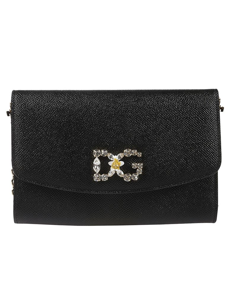 Dolce & Gabbana Embellished Dg Shoulder Bag - black