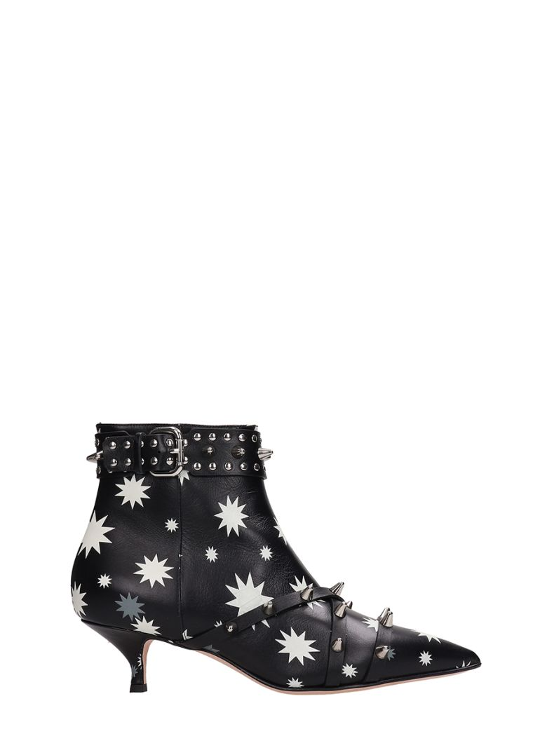 RED Valentino Bootie Black White Printed Leather - black