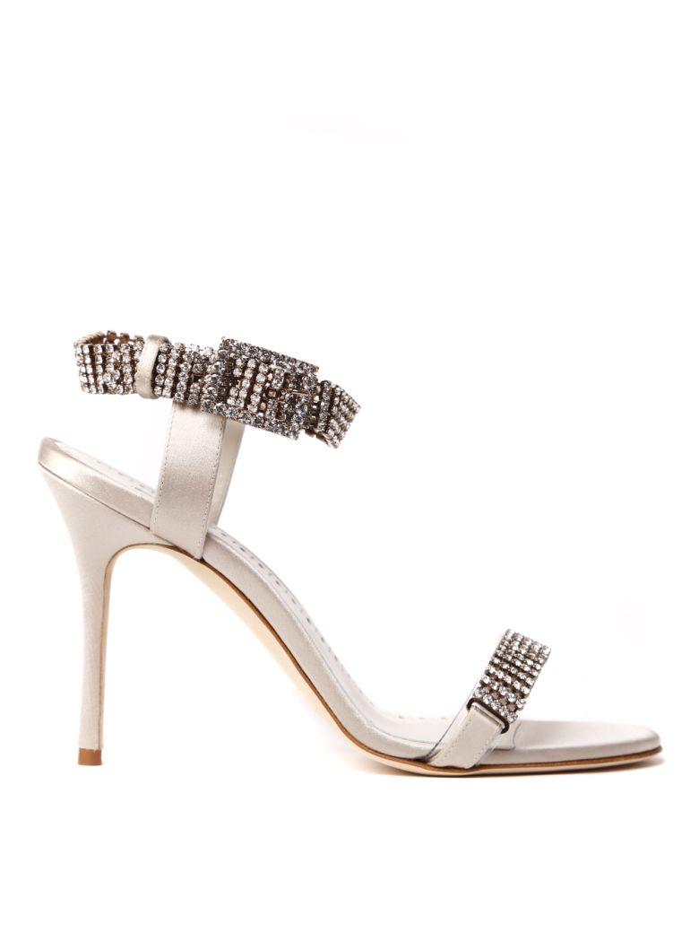 Manolo Blahnik Bashifa Embellished Silk Satin Sandals - Silver