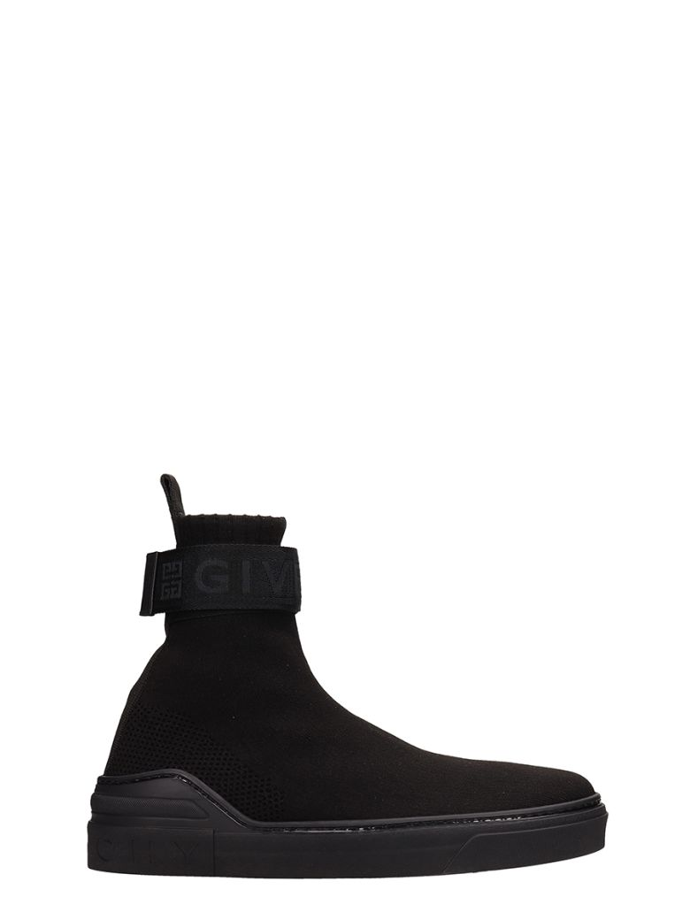 Givenchy George V Sock Black Stretch Knit Nylon Sneakers - black
