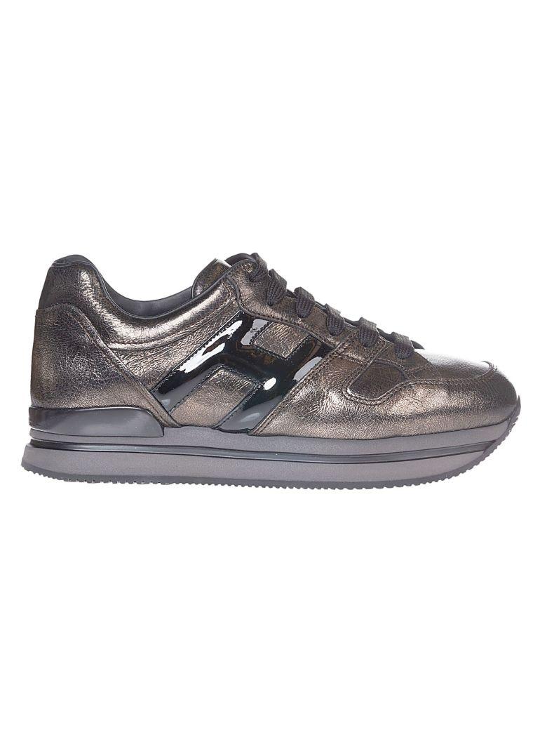 Hogan Logo High Platform Sneakers In Metallic