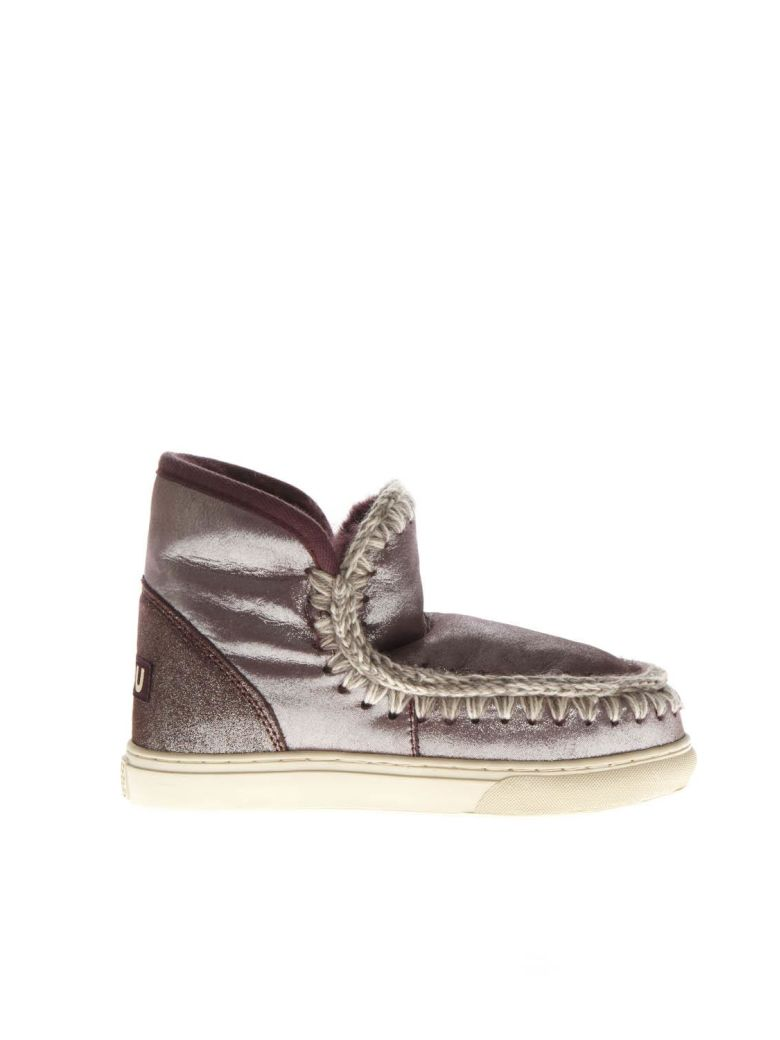 Mou Eskimo Laminated Wine Wool & Leather Sneakers Boots - Basic