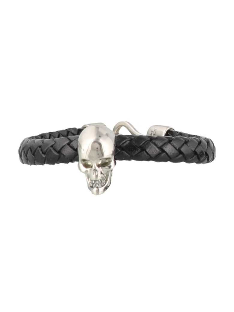 Alexander McQueen Skull Leather Bracelet - Black