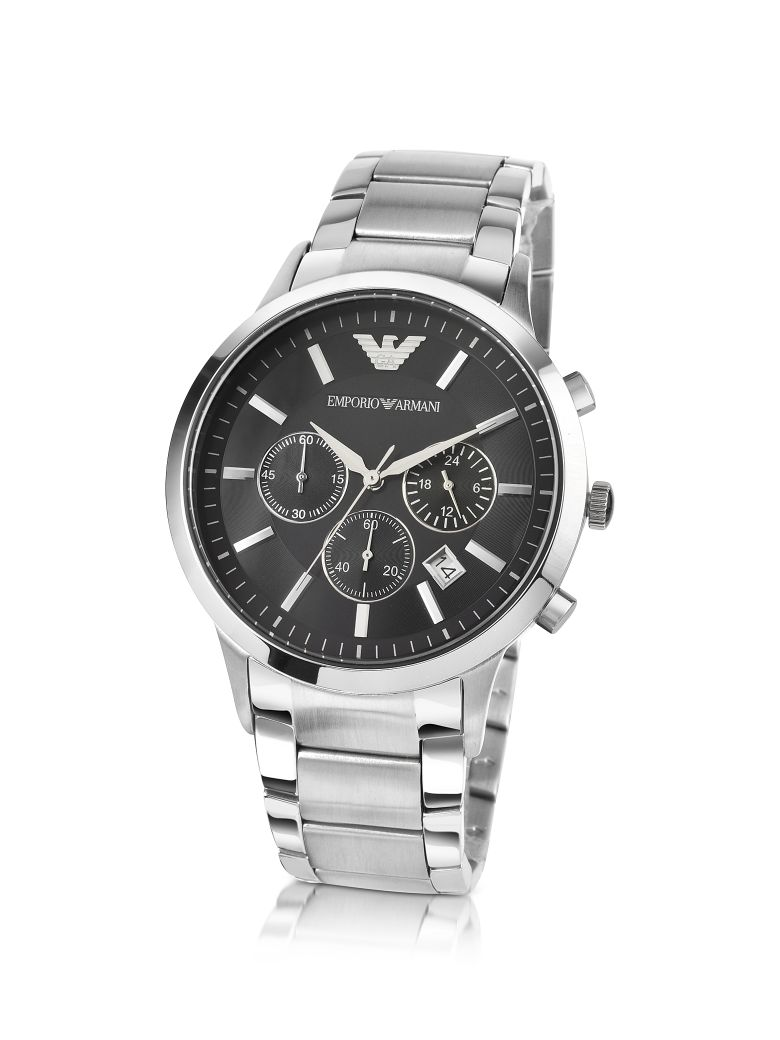 Emporio Armani Men's Black Dial Stainless Steel Chrono Watch - Silver