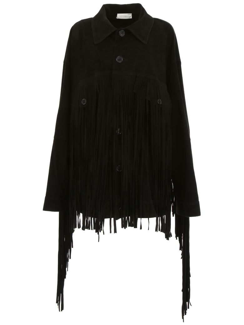 Faith Connexion Suede Jacket With Fringes - BLACK (Black)