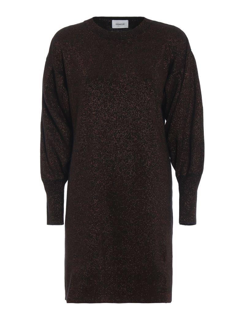 Dondup Wool Blend Lurex Knit Dress - Brown