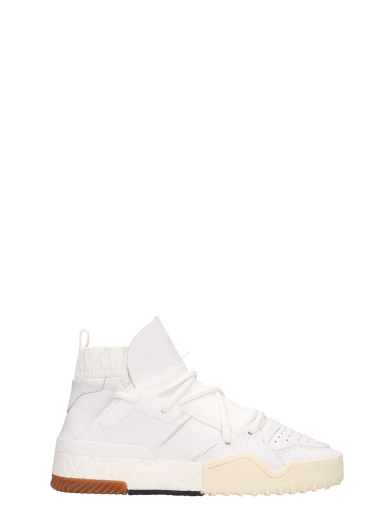 Adidas Originals by Alexander Wang Aw Bball Leather White Sneakers - white