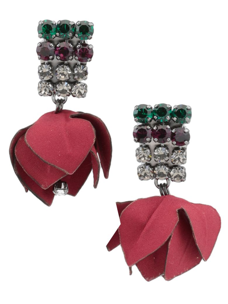 Marni Earrings With Flowers And Strass - RED