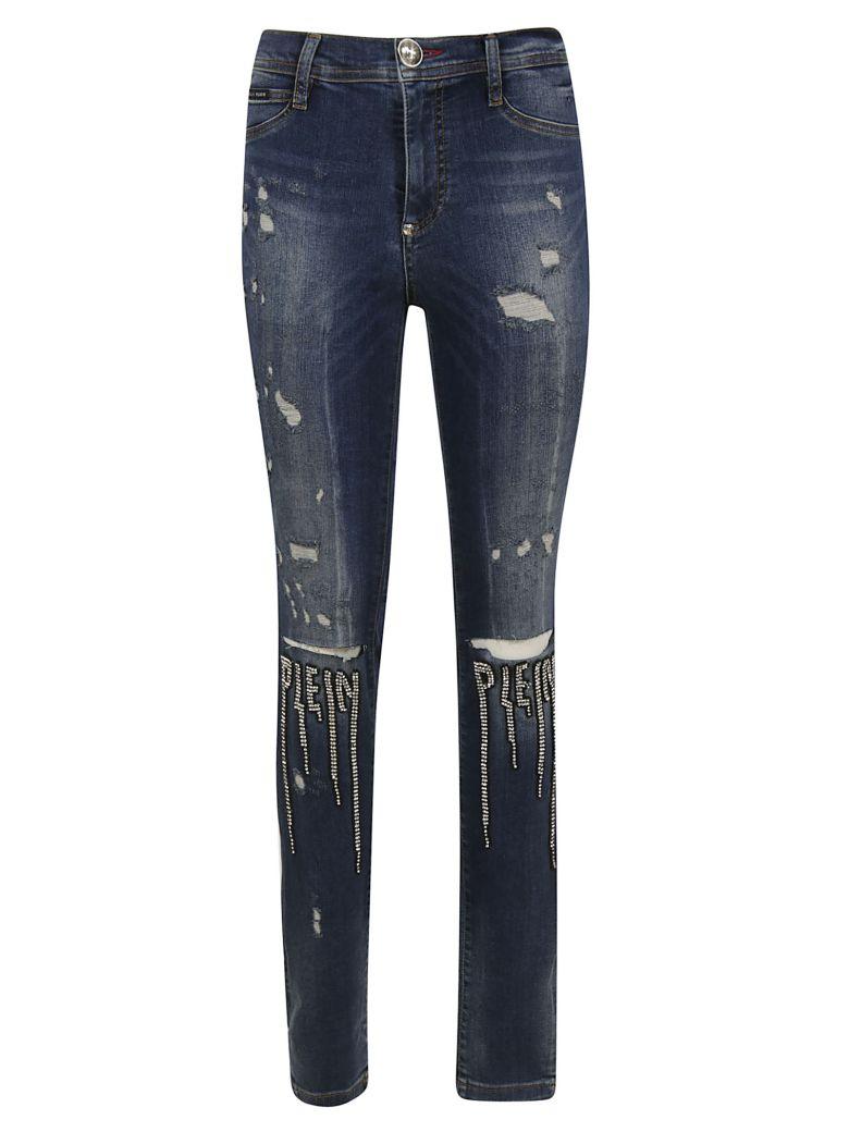 Philipp Plein Embellished Logo Jeans - Denim