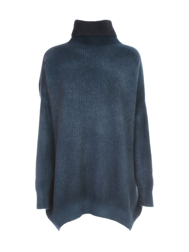 Avant Toi Oversized High Neck Bicolor Sweater - Blu