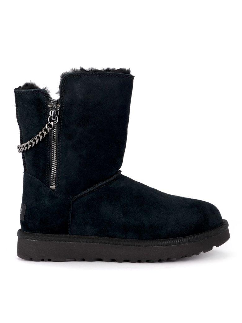UGG Classic Short Sparkle Zip Black Suede Ankle Boots - Black