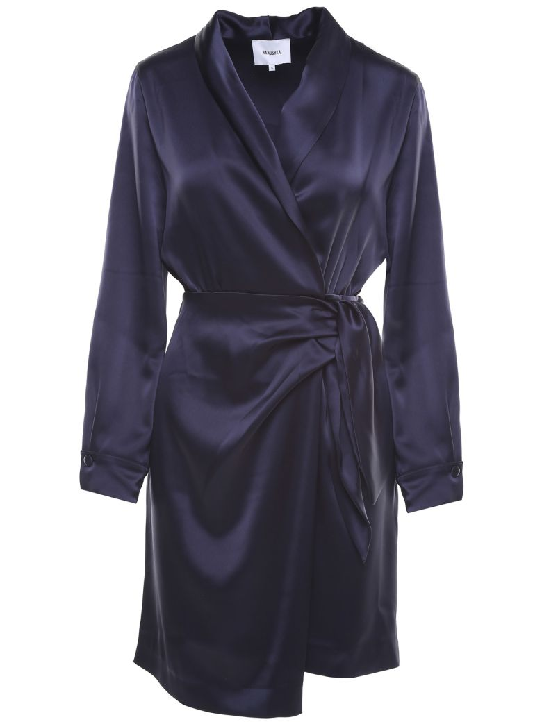 Nanushka Siwa Satin Wrap Midi Dress - Blu