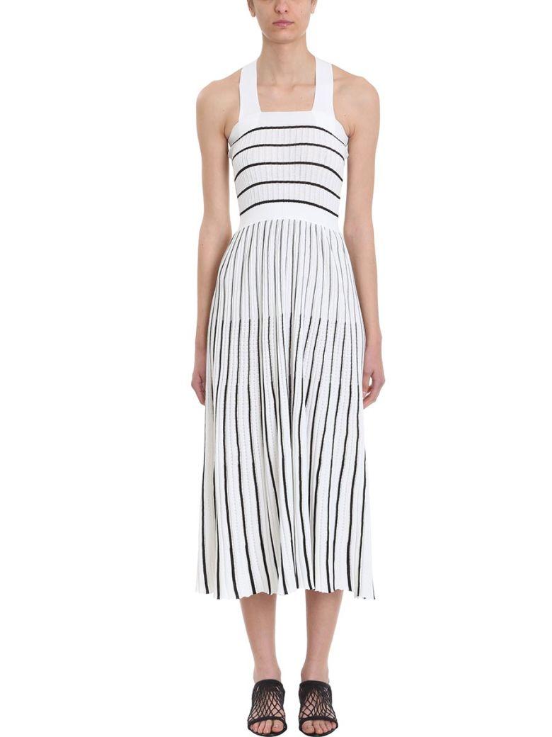Sonia Rykiel Striped Midi Knit Dress - white