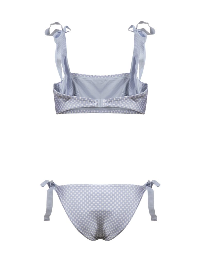 Zimmermann Bow Tie Bandeau Bikini - Celeste bianco