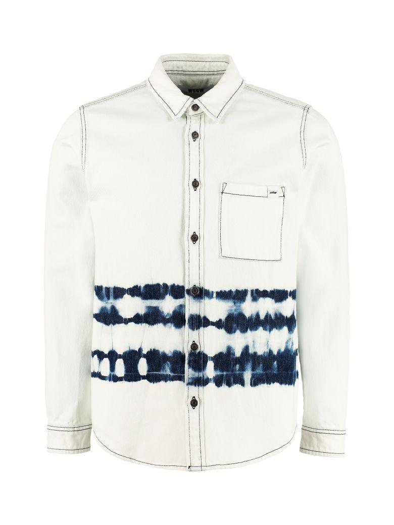 MSGM Bleached Effect Denim Shirt - Denim