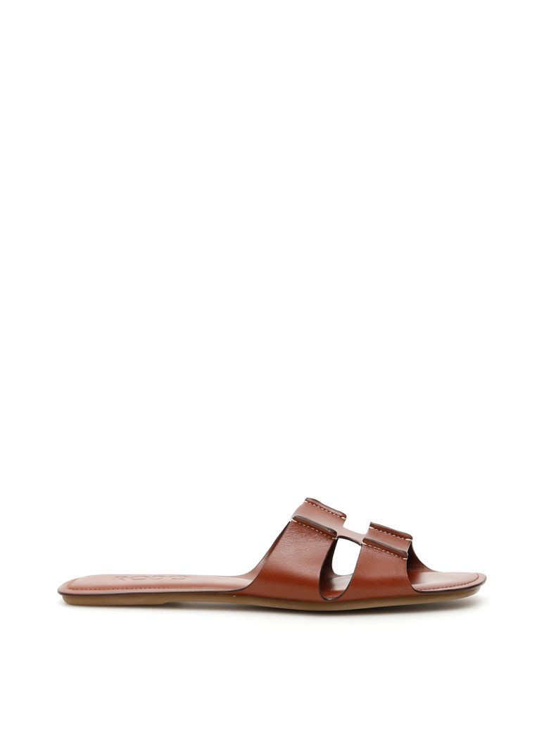 Rodo Leather Slides - MASTICE (Brown)