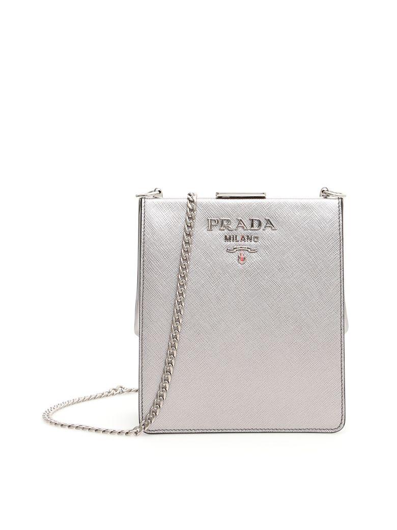Prada Saffiano And City Calf Light Frame Bag - CROMO 1 (Metallic)