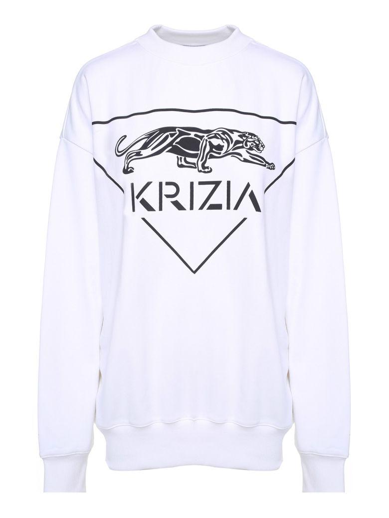 Krizia Panther-print Cotton Oversized Sweatshirt - Bianco