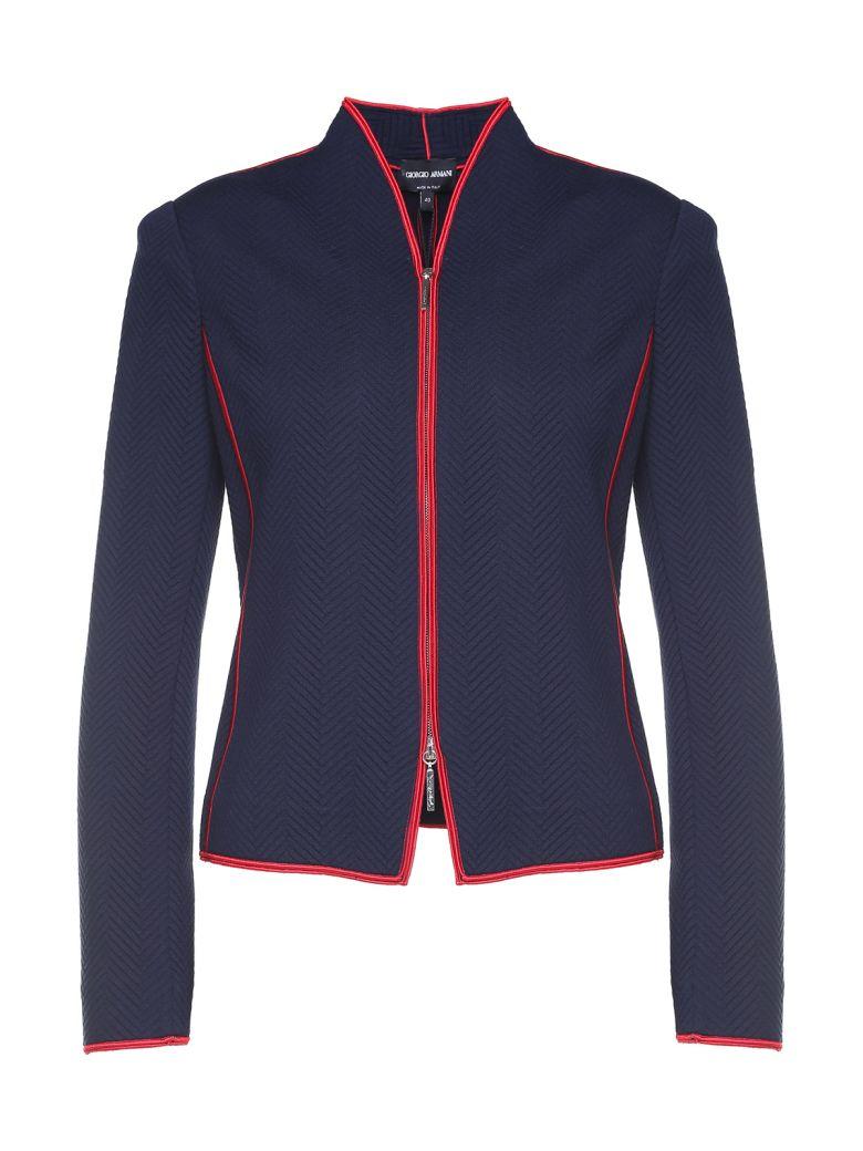 Giorgio Armani Zip-through Jaquard Jacket - Blue